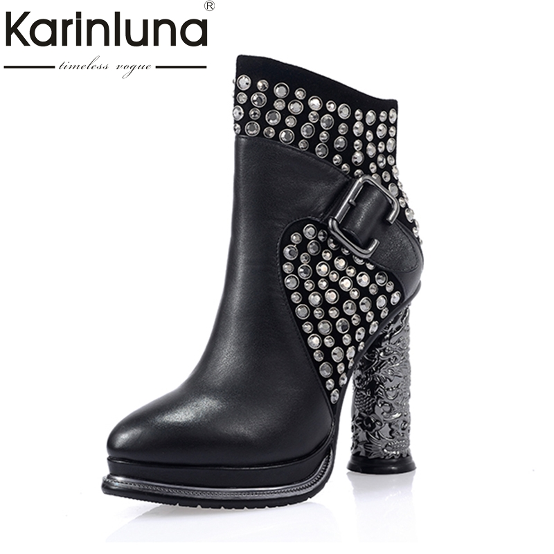 KarinLuna Top Quality Rhinestones Platform Kid Suede Genuine Leather Shoes Women Sexy Cylinder High Heels Black Ankle Boots цена