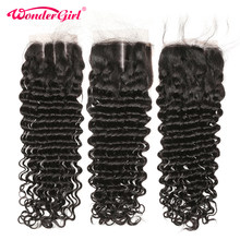 Wonder girl Brazilian Deep Wave Closure With Baby Hair Pre Plucked 100% Human Hair Lace Closure No Shedding Remy Hair(China)