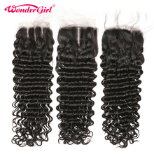 Closure Deep-Wave Remy-Hair Wonder 100%Human-Hair Brazilian Girl with Pre-Plucked Lace
