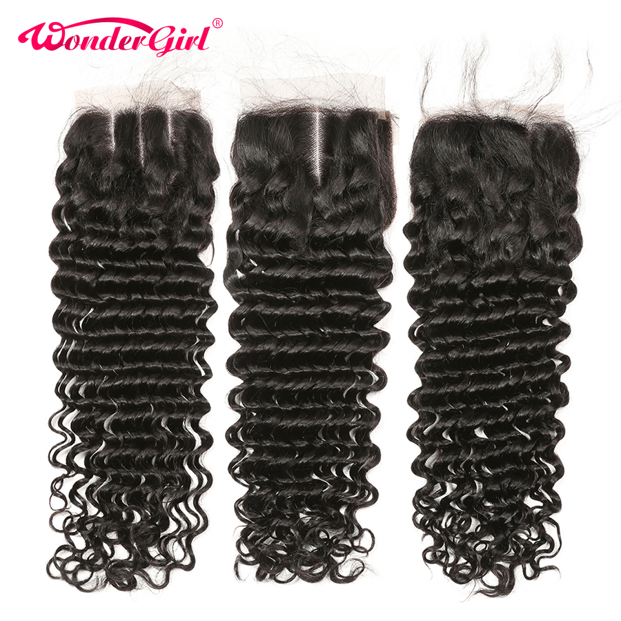 Wonder Girl Brazilian Deep Wave Closure With Baby Hair Pre Plucked 100% Human Hair Lace Closure No Shedding Remy Hair
