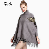 Autumn And Winter Women New Cloak Poncho High Necked Bat Sleeve Pullover Sweater Tassel Knit Shawl