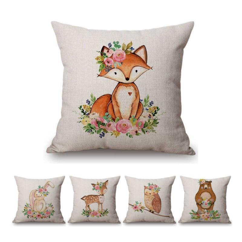 Cute Pink Flowers Cartoon Fox Bear Owl Deer Baby Girl Room Decoration Throw Pillow Case Cotton Linen Cute Cushion Cover For boys