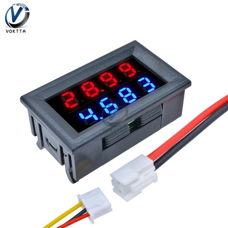0.28 Inch Red Blue LED Dual Display Digital DC Voltmeter Ammeter 4 Bit 5 Wires DC 200V 10A Voltage Current Meter Power Supply