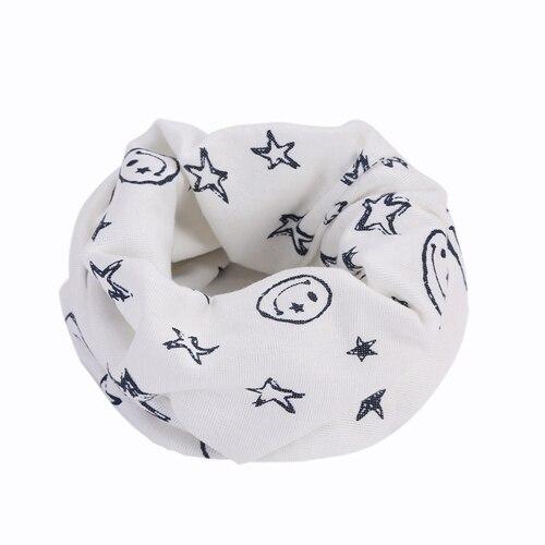 Детский Теплый хлопковый шарф-труба для мальчиков и девочек, шарф-шаль с круглым вырезом, шейный платок с рисунком улыбающегося лица и звезды - Цвет: R73-1