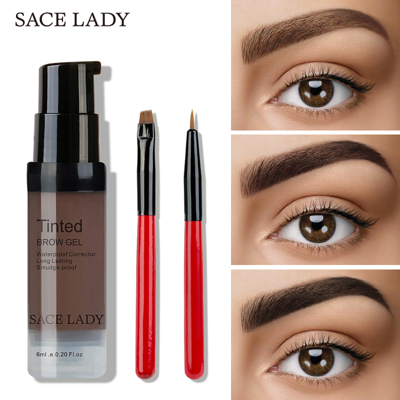 SACE LADY 6 Colors Henna Eyebrow Gel Waterproof Tint Makeup Brush Set Brown Enhancer Eye Brow Dye Cream Make Up Paint Cosmetic 目