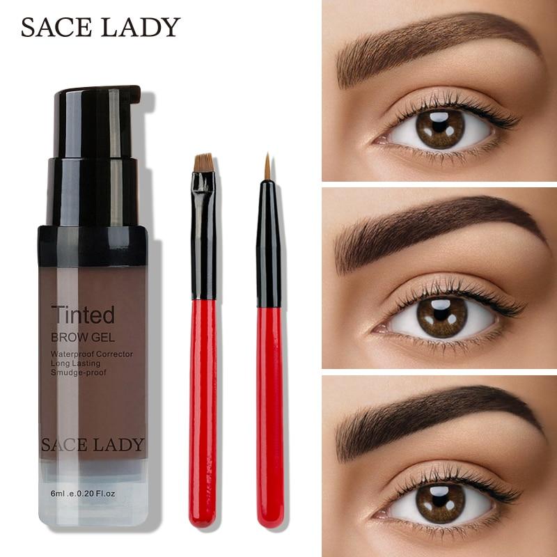 SACE LADY 6 Colors Henna Eyebrow Gel Waterproof Tint Makeup Brush Set Brown Enhancer Eye Brow Dye Cream Make Up Paint Cosmetic
