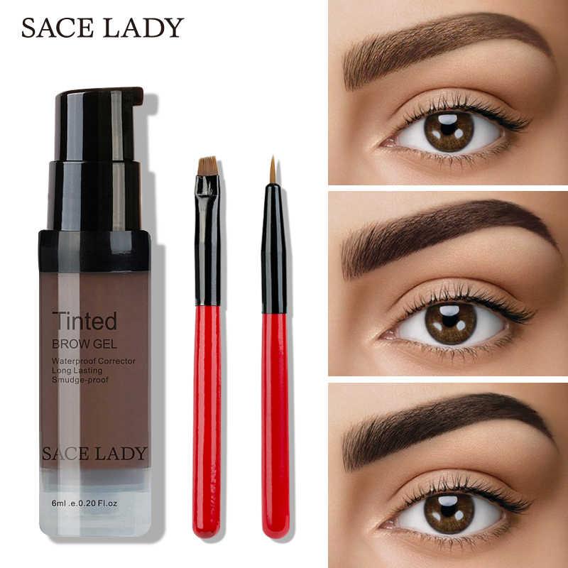 Sace Lady 6 Kleuren Henna Wenkbrauw Gel Waterdicht Tint Make-Up Borstel Set Bruin Enhancer Eye Brow Kleurstof Crème Make Up verf Cosmetische