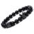 2016 Nuevo Estilo Geométrico Encantos de Piedra Natural Pulseras de Los Hombres Micro incrustaciones de Circón Negro Pistola Crown & Mate Onyx Pulsera mujeres