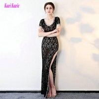 Elegant Black Formal Evening Dresses 2017 New Sexy Prom Dress Long Lace Crystal Backless Mermaid Custom
