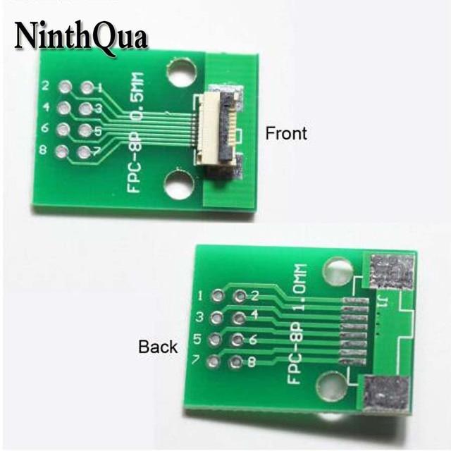1 قطع 8 وعاء FFC الشركة العامة للفوسفات محول PBC مطلي 0.5 ملليمتر/1.0 ملليمتر الملعب فليب غطاء إلى 2.54 ملليمتر 8Pin شقة مقبس كابل موصل ل TFT LCD