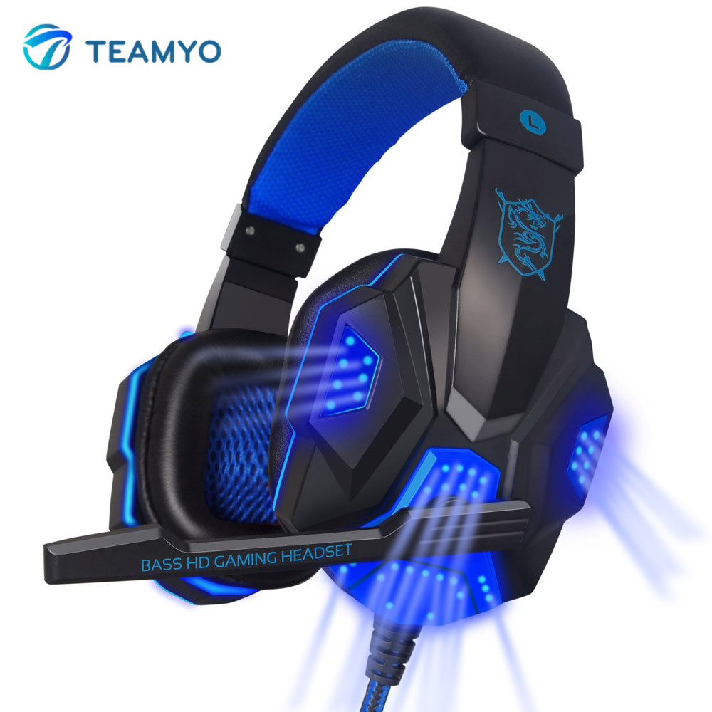 Teamyo Gaming Headset Over Ear Glowing Earphone Headband With Microphone PC Stereo Bass Headphones For Computer PC Gamer