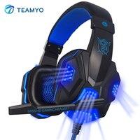 Teamyo PC780 Gaming Headset Over Ear Glowing Headphone Headband With Microphone PC Stereo Bass Earphone For