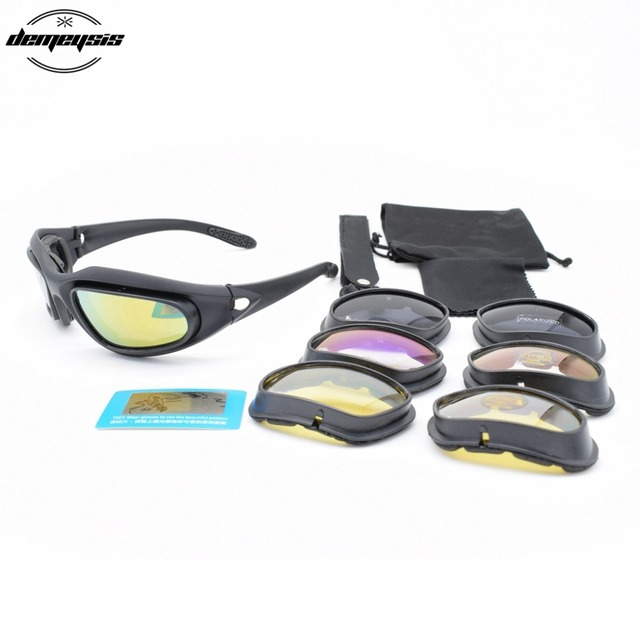 87f16d6b0575 Polarized C5 Tactical Military Men Hunting Shooting Airsoft Goggles 4 Lenses  Glasses Men