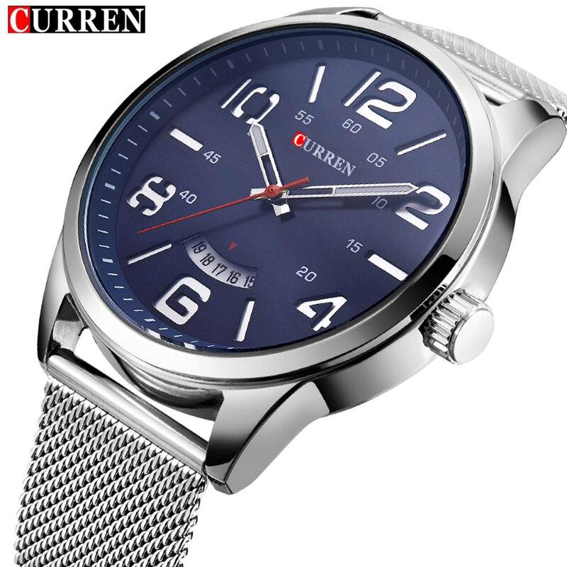 2017 Curren Watch Men Brand Luxury Silver Mesh Strap Quartz Watch Men's Fashion Casual Sport Wristwatches Male Waterproof Clock