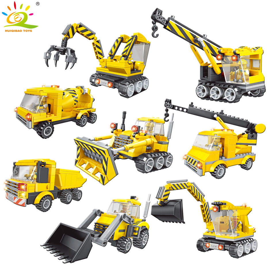 Stacking Blocks Hot City 8in2 Engineering Vehicle Giant Excavator Building Block Diy Dump Truck Bulldozer Tractor Hanging Tower Bricks Toys Building & Construction Toys