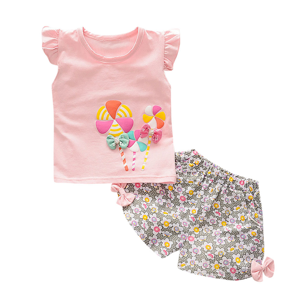 SZYADEOU Summer Hot Sale Toddler Kids Baby Girl Lolly T Shirt Tops+Floral Shorts Pants Outfit Clothes Set  2019 Wholesale L4