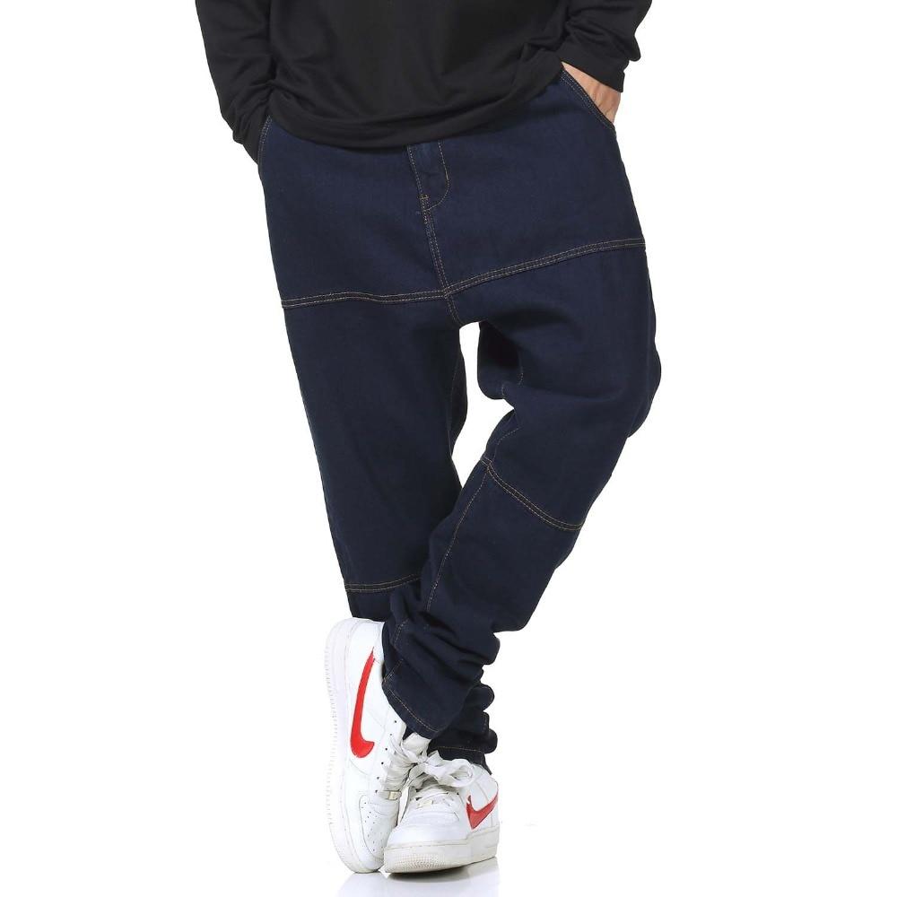 American Fashion Men Loose Baggy Harem Jeans  Brand Denim Pants Cotton Hip Hop Trousers Blue Plus Size 30-46