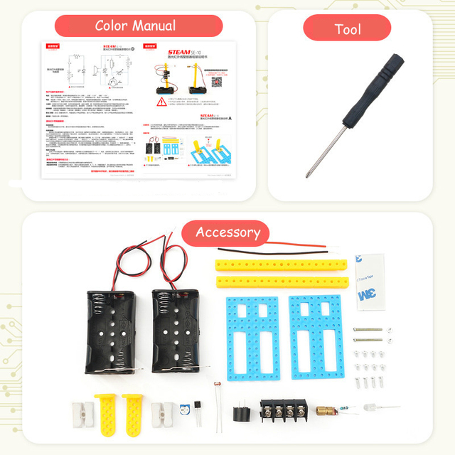 DIY STEM Toys for Children Physical Scientific Experiment Creativity Learning Educational Toy Infrared alarm de Birthday Gift