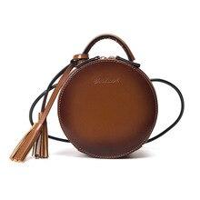 2019 brand new women's Shoulder Bags Round bag tassel zipper Retro Messenger Designer waterproof Female  Crossbody