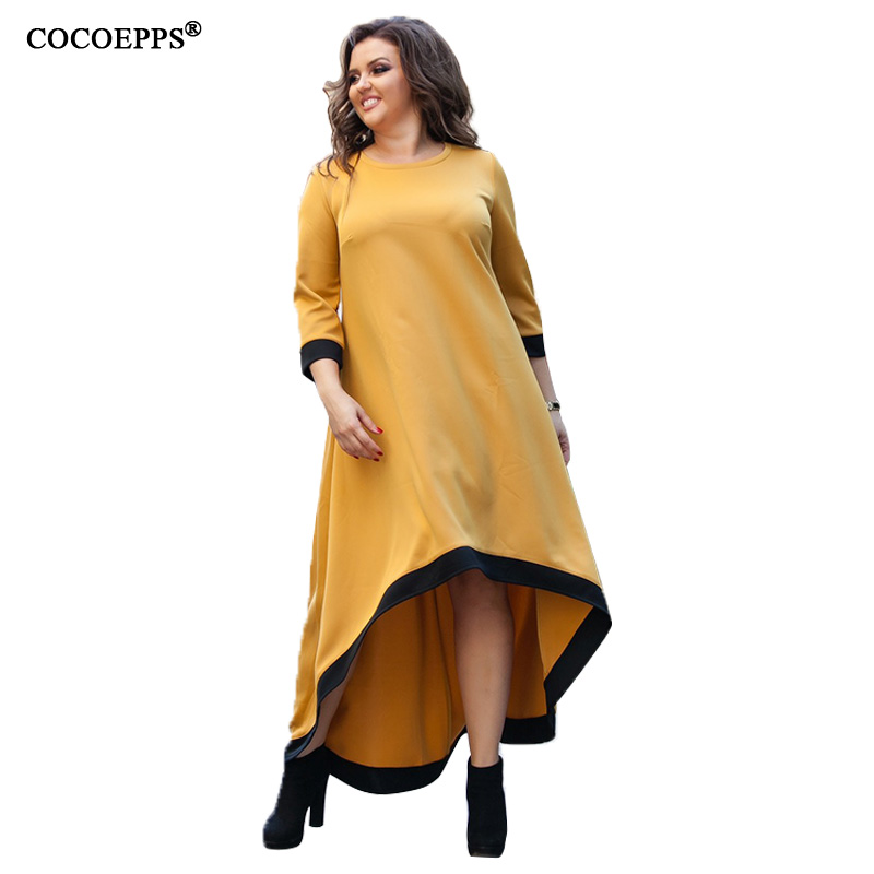 US $16.98 40% OFF 5XL 6XL Plus Size Women Long Dress Spring Maxi Dress  Casual Yellow Big Size Evening Party Dress Elegant Large Size Dress  Vestido-in ...