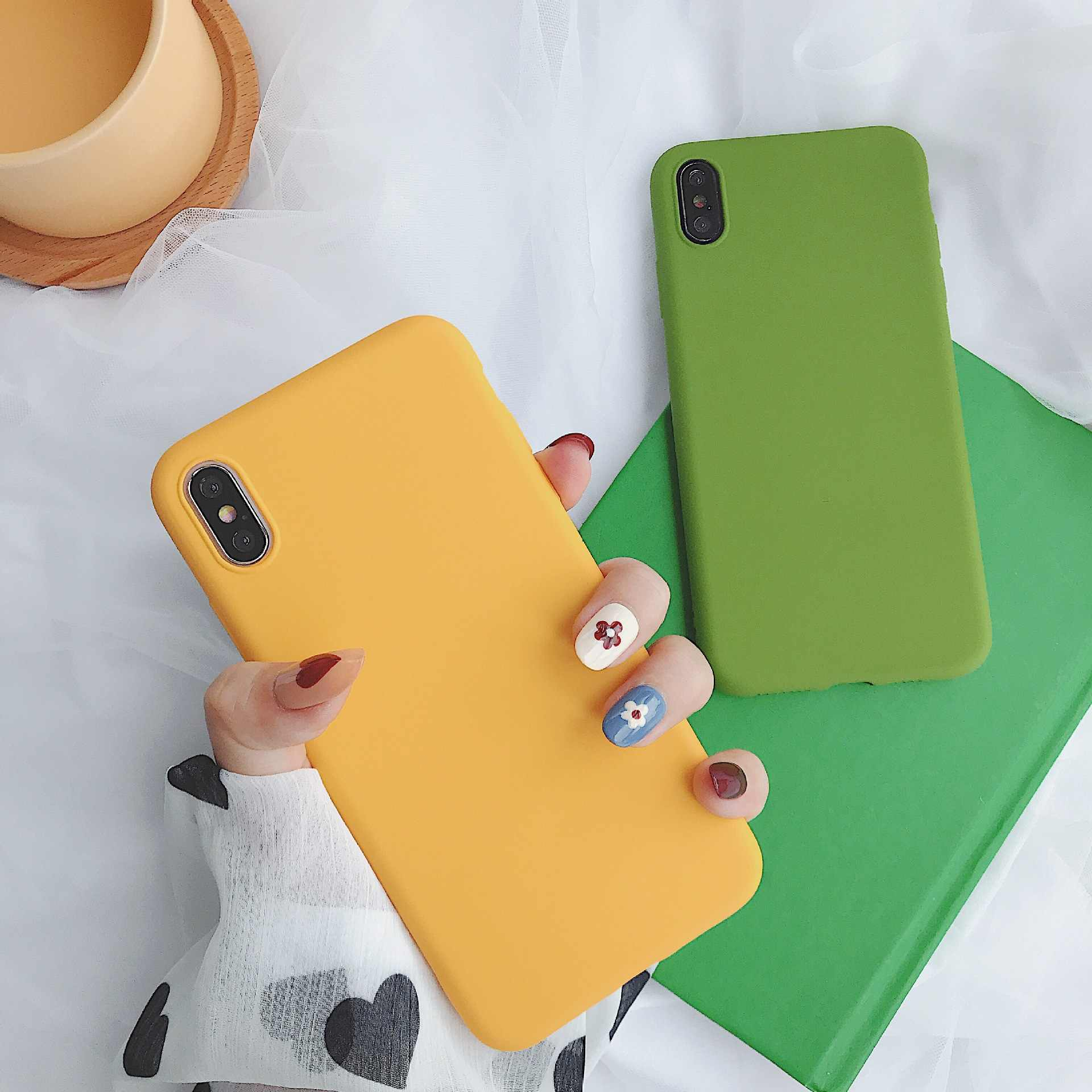 Fashion Ultra Thin Color TPU Silicone Glossy Case For iPhone X XS Max XR 7 8 6 6s PlusSoft Back Cover Coque Funda