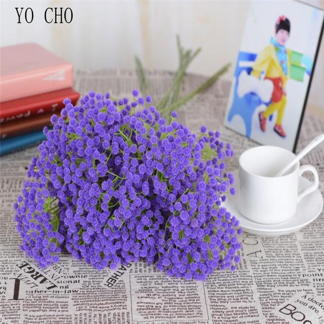 YO CHO10Pcs Artificial BabysBreath Flower Gypsophila Plant Wedding Party Decoration Real Touch Fake Flower DIY Home Garden Decor