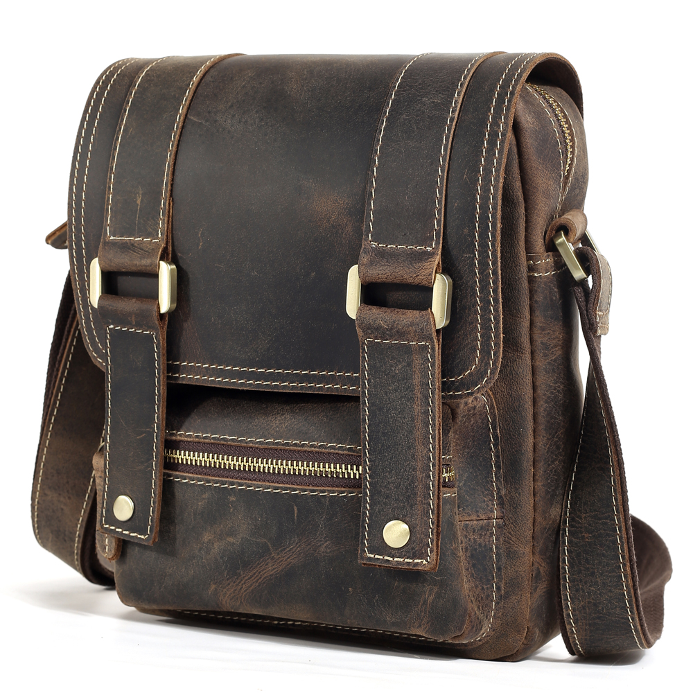 TIDING Leather Small Satchel for iPad Cool Vintage Style Messenger Bag with Flip Cover 1172TIDING Leather Small Satchel for iPad Cool Vintage Style Messenger Bag with Flip Cover 1172