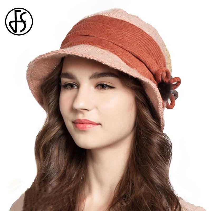 8d19035b552 FS Winter Women Floppy Flowers Wool Bucket Hat Black Khaki Orange Women  Fashion Fisherman Cap Keep Warm Female Casual Hats-in Bucket Hats from  Apparel ...