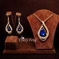 Fashion White Red Blue Gem Stone Jewelry Sets Women  Gold Plated Waterdrop Pendant Necklace + Earrings Set with CZ Crystal