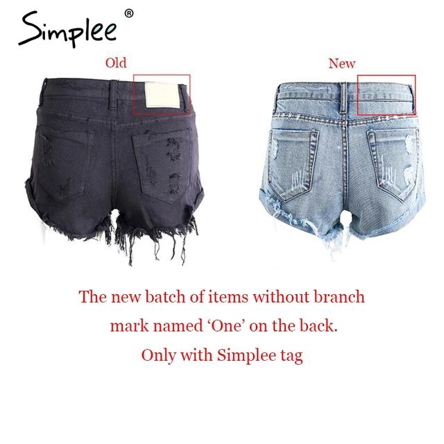 Simplee Apparel 50's Vintage ripped hole fringe blue denim shorts women Casual pocket jeans shorts 2016 summer girl hot shorts