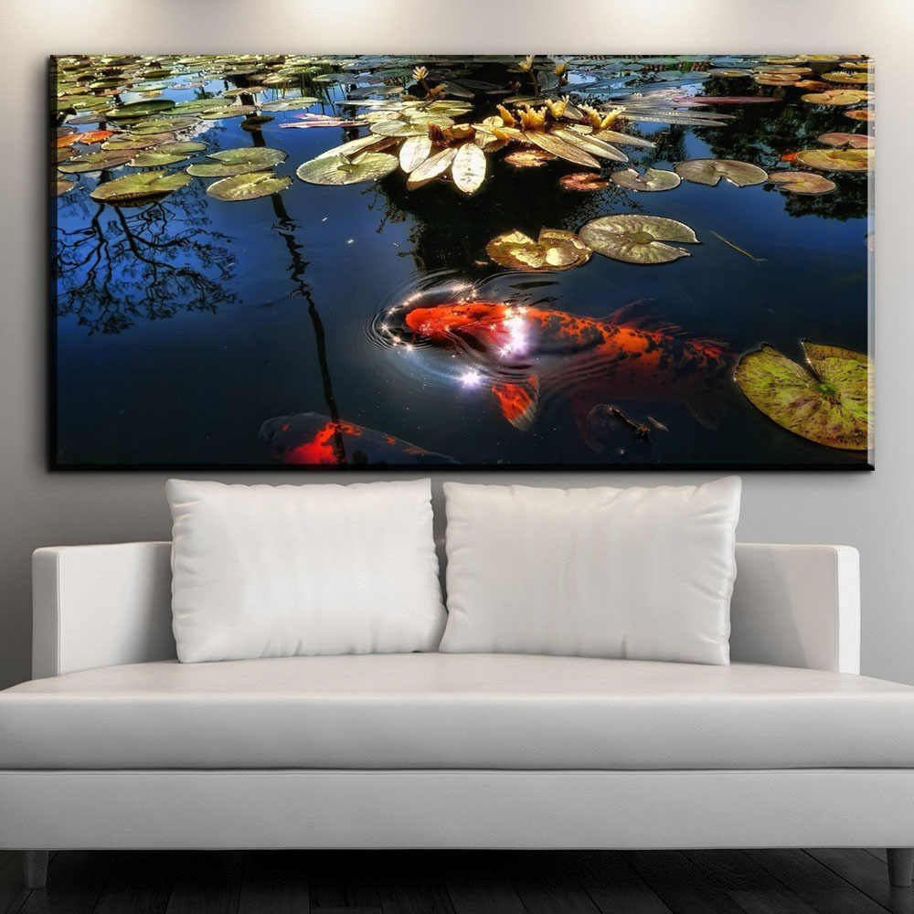XX662 Chinese Koi Fish Lotus Canvas Prints Feng Shui Animal Landscape Painting Wall Art Picture For Living Room Moder Home decor