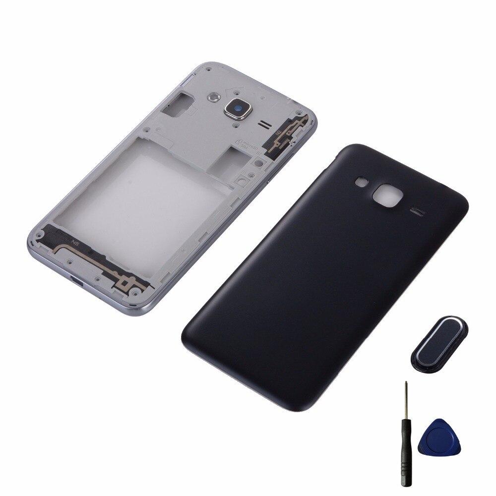 For Samsung Galaxy J3 2016 J320 J320F J320H J320FD Housing Middle Frame Cover+Battery Back Cover+Home Button Return Keypad+Tools