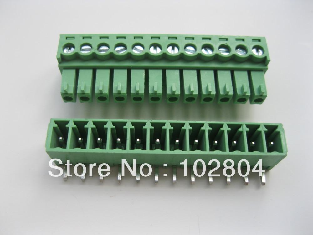 12 шт. в партии винтовой клеммный блок разъем 3,5 мм угол 12 способ/pin Зеленый подключаемый тип высокое качество Лидер продаж