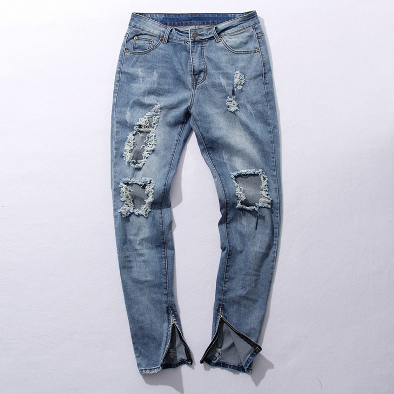 KANYE WEST Ripped Jeans Mens Fear Of God Boots Jeans men Blue Knee Hole Side Zipper