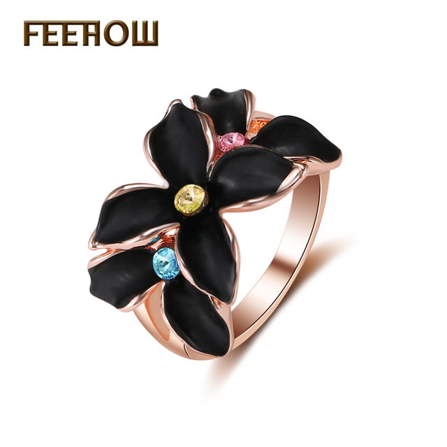 FEEHOW Classic Black Roast Paint Cubic Zirconia Flower Women Rings