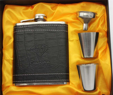 7 unze Edelstahl Tragbare Whisky Russland Flachmann Vorhaut Geprägte Topf Pu-leder Mini Krug Flaschen Flagon Set geschenk-boxen