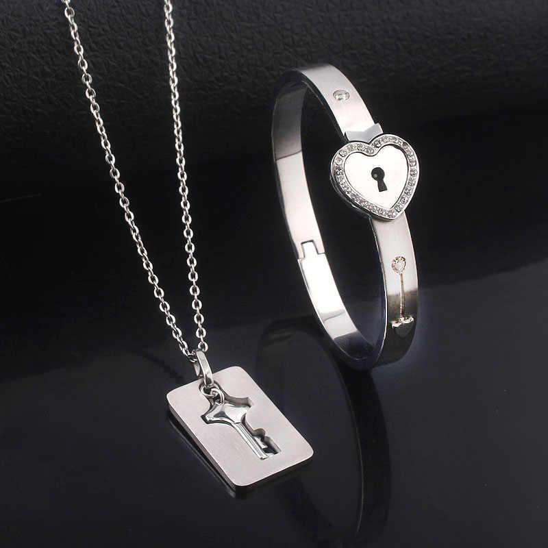 Gargantilla de acero inoxidable te amo encanto llave pulsera de corazones cristal San Valentín regalo 100 idiomas colgante joyería