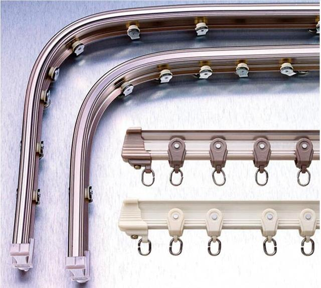 8 Feet Ceiling Aluminium Alloy Ivory Rose Gold Bendable Double Curtain Track Sets For Bay Window