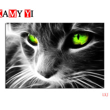 5D DIY Diamond Embroidery Cats gaze from green eyes mural painting Cross stitch Diamonds Mosaic Home Decor Painting LXJ