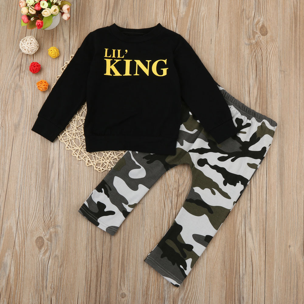 Pants Tracksuit Outfits Clothes Toddler Kids Baby Boy Long Sleeve T-shirt Tops
