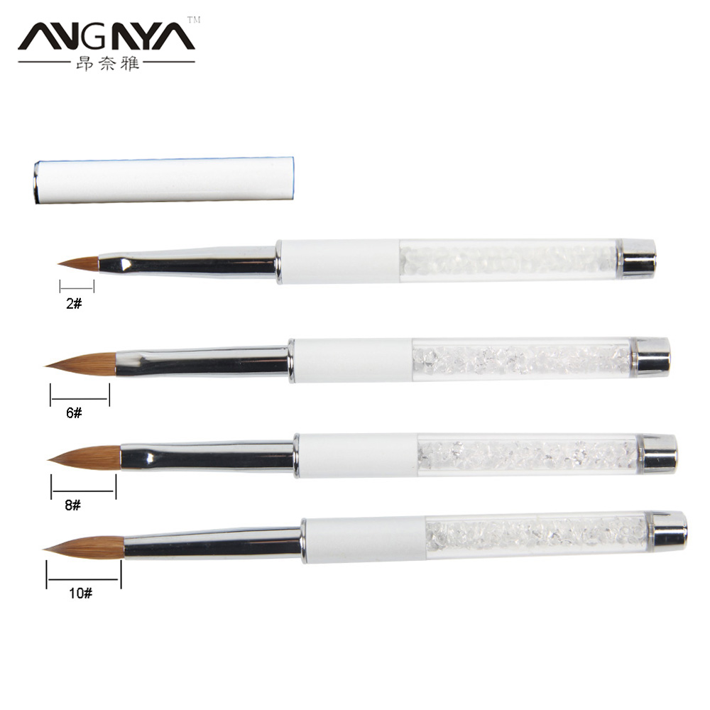 ANGNYA Kolinsky Hair Professional Diamond Painting Acrylic Nail Art Brush Size 2/6/8/10 UV Gel Carving Pen Brushes Liquid Powder
