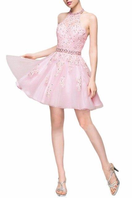 Fashion Beaded Appliques Short Prom Dress Halter Neck Off the Shoulder Backless Cocktail Dresses 2017 Robe de Soiree
