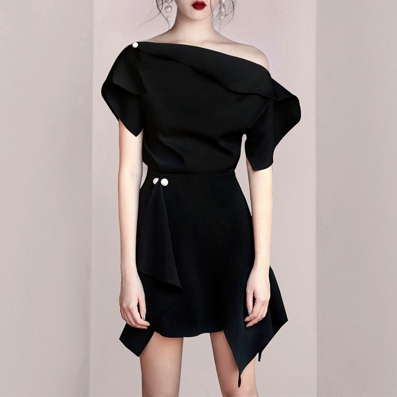 High Quality New Party Women Black Skirts Suits Sexy Off Shoulder Blouses And Irregular Pearls Skirt Suits Set With Bows NS207