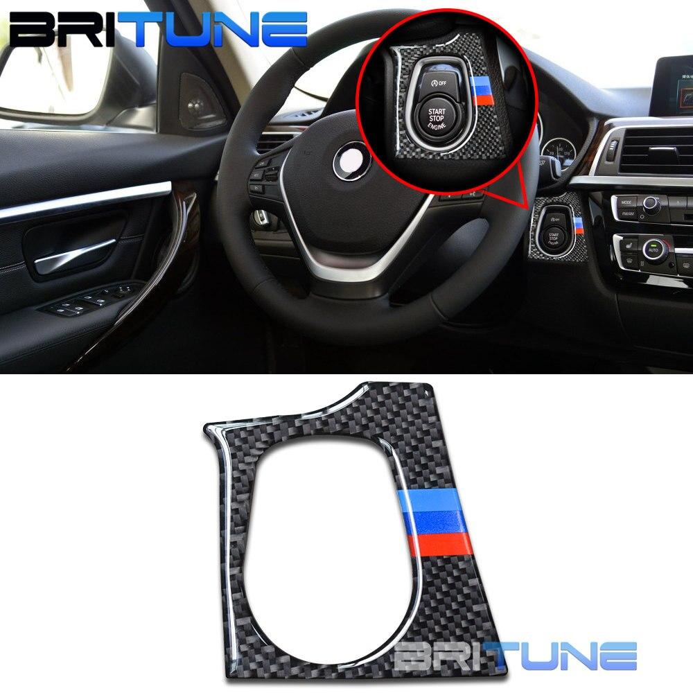 Carbon Fiber Start Engine Button Cover Sticker Trim For BMW F30 F31 F32 F33 F34 F36 M3 M4 F80 F82 F83 Cars Retrofit DIY Styling
