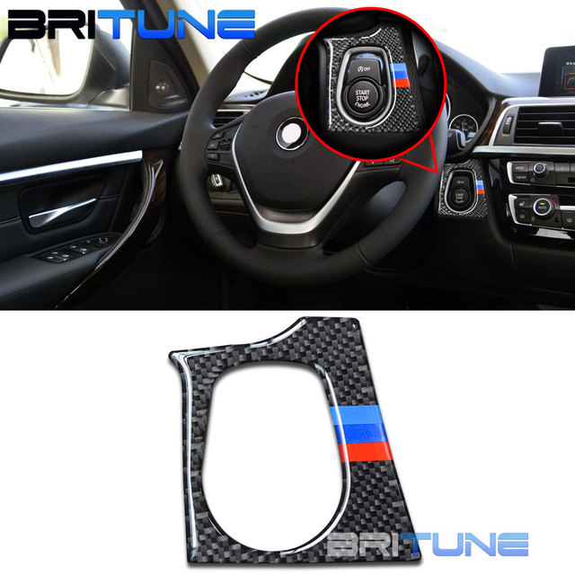 Carbon Fiber Start Engine Button Cover Sticker Trim For BMW F30 F31 F32 F33  F34 F36 M3 M4 F80 F82 F83 Cars Retrofit DIY Styling-in Automotive Interior