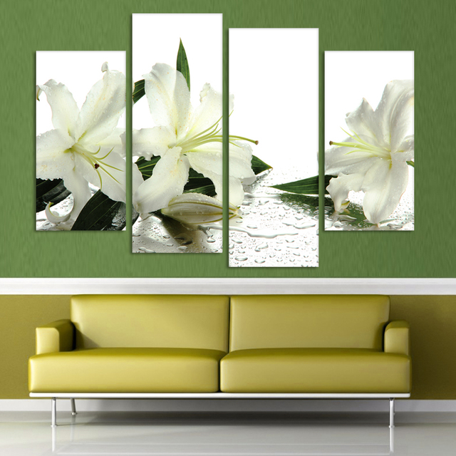 4 Panels Canvas White Lily Flower Painting On Canvas Wall Art ...