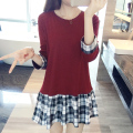 New spring autumn Stitching maternity dresses maternity sweater Plaid pregnant women dress