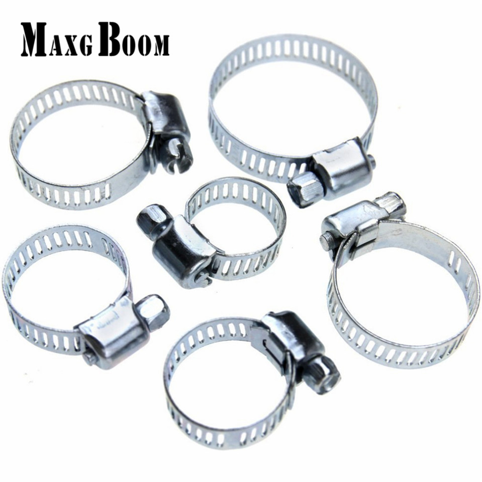 MaxgBoon 34pcs! Stainless Steel Mini Jubilee Fuel Hose Clamps Pipe Clips Fastener For Home Tools 19 22mm range stainless steel pipe screw clamp hose clip quick fastener