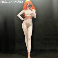 Sexy White Nude Printed Jumpsuit Singer Dancer Sexy Leggings Costume Big Stretch Bodysuit Nightclub Outfit Party Wear