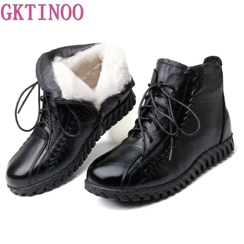 GKTINOO Winter Shoes Woman Snow Boots 2018 New Winter Warm Wool Ankle Boots Flat Non-slip Cow Genuine Leather Shoes Women Boots cocoafoal women s wool snow boots woman ankle boots silvery winter snow boots flat with platform wool snow boots genuine leather